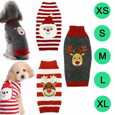 Christmas Sweaters For Dogs.Sweater Dog Clothes Christmas Knitted Jumper Apparel For Small Large Dog Xxs Ebay