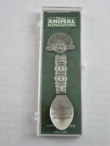 Disney-Animal-Kingdom-2001-Collectible-Pewter-Spoon-Made-USA-New-In-Case