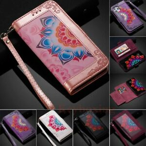 For iPhone 12 Pro Max 11 XR SE 6 7 8 Painted Wallet Card Slot Case Leather Cover