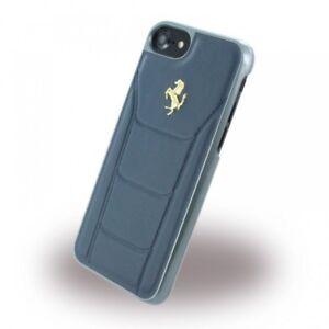 FERRARI-Leder-iPhone-7-iPhone-8-SCHUTZHULLE-Back-Case-Cover-Blau