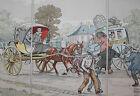 1900 La Locomotion estampe aquarellée Eugène Courboin Uzanne 35,5 x 26 cm n°18