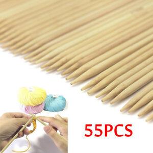 55Pcs-Bamboo-Double-Point-Knitting-Needles-6-034-Choose-Size-Wood-Needle-Tool-Set