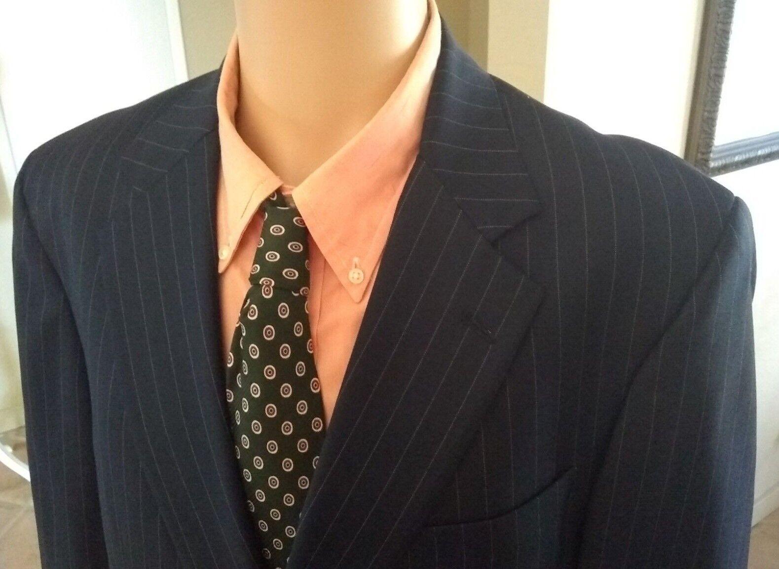 Carroll & Co. Bespoke Dark Navy Pinstripe 2 Btn. Suit Super 120s 42R 36-37x29