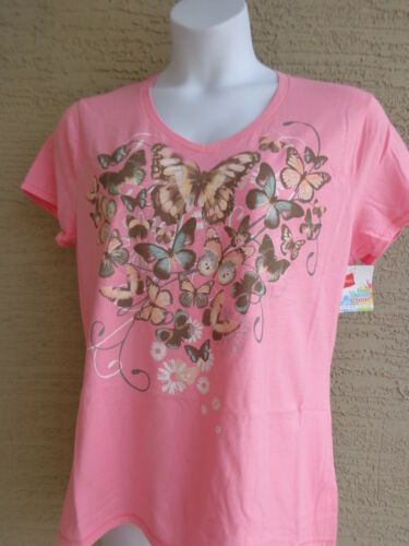 NWT Hanes Cotton Graphic  V Neck Tee Shirt  Pink with butterflies M