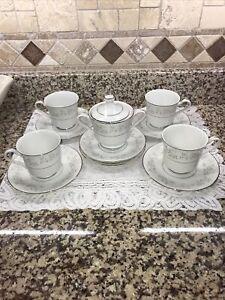 Fine China Japan PLATINUM ROSE Sugar Bowl w Lid,4 Cups And 6 Saucers EUC