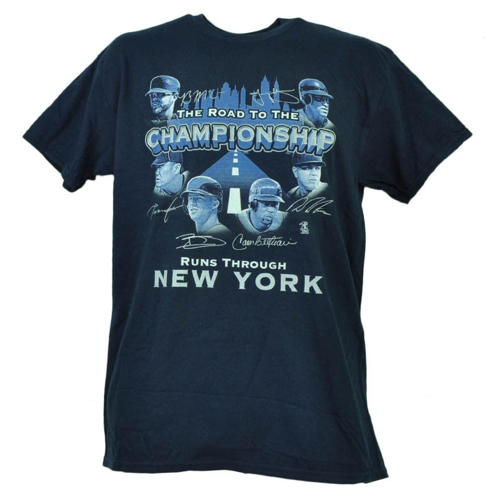 New York Yankees Yankees Yankees Road To The Championnat Joueur Signatures T-Shirt Hommes 57371b