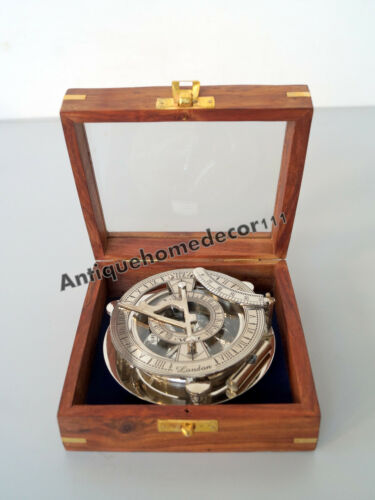 Collectible vintage marine maritime brass sundial compass with anchor wooden box