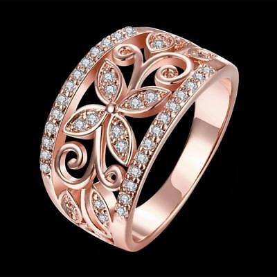 bague doigt bonne chance zircon cubique fleurs de trèfle crystal l/'or rose