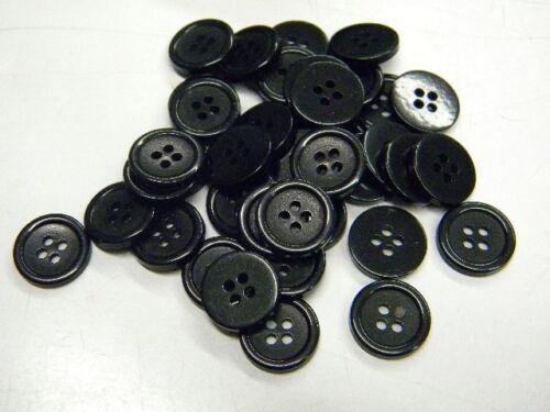 100 boutons neuf mercerie plastique couleur noir   1.4 cm lot 1159