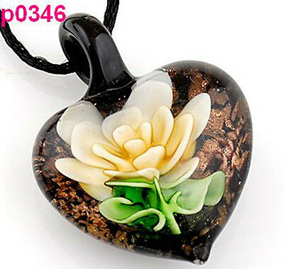 handmade Flower leaf art glass beaded pendant necklace p0346