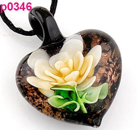 handmade Flower leaf art glass beaded pendant necklace p0346