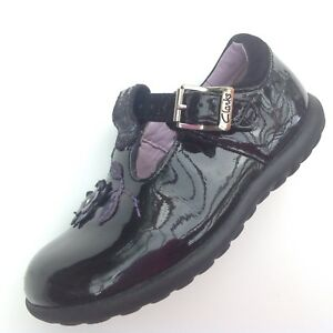 CLARKS-GIRLS-SHOES-SIZE-5F-5-F-BLACK-PATENT-LEATHER-SEE-DESCRIPTION