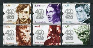 Portugal-2017-MNH-Star-Wars-40-Years-Han-Solo-Yoda-Darth-Vader-6v-Set-Stamps