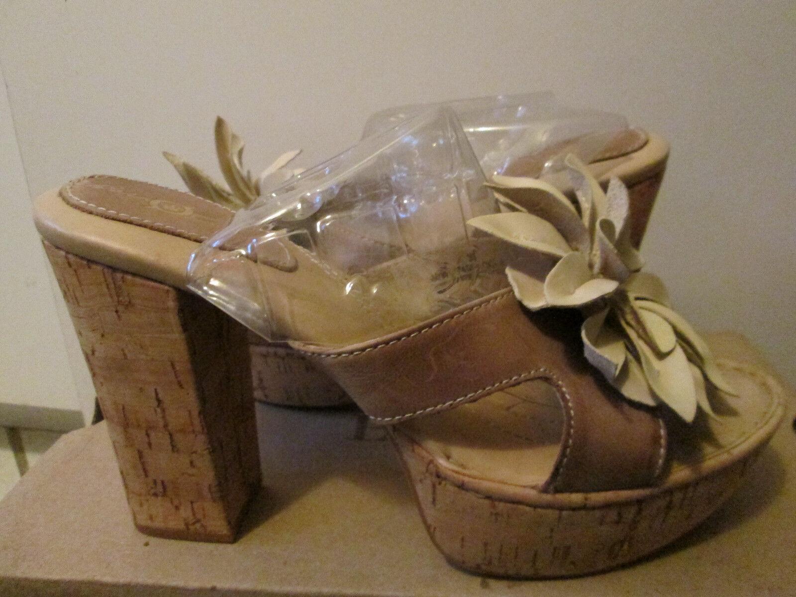 Born Crown Lolita Beige Tan Braun Flower Leder 7 High Heel Platform Sandale 7 Leder NEW 4242d2