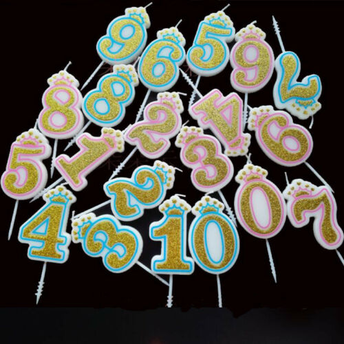 Cake Topper Numbers Wedding Birthday Decoration Gold Glitter Candle Party Decor