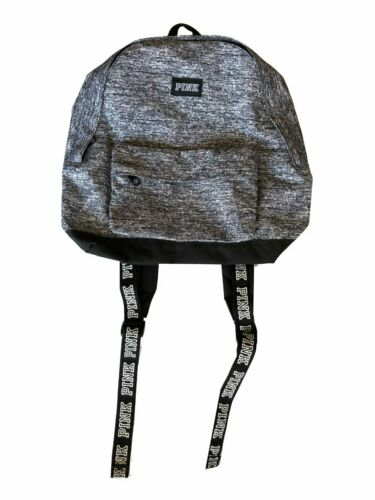 Details about  /Victoria/'s Secret PINK Black Marl Grey Rare Large Logo Strap Mini//Small Backpack