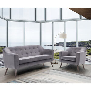 Details about 2+1 Scandinavian Velvet Fabric Chair Armchair Tub Sofa Set Living Room 3 Seaters