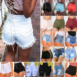 Women-High-Waist-Denim-Shorts-Jeans-Ladies-Casual-Beach-Ripped-Hot-Pants-Trouser