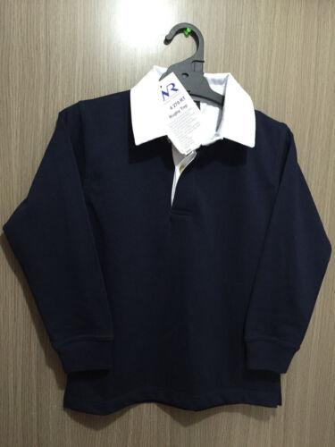 BNWT Boys or Girls Sz 12 LW Reid Brand Navy Blue Long Sleeve Rugby Style Jumper