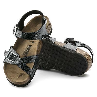 Girls Kids Birkenstock Rio Birko Flor Strap Sandals Magic Snake Black Sling Bac | eBay