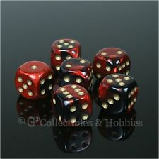 NEW Set of 6 Black Red Gemini D6 Dice Six Sided RPG D&D Game 16mm 5/8 inch D6s