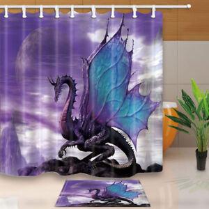 Image Is Loading Western Dragon Pattern Waterproof Fabric Bathroom Shower Curtain