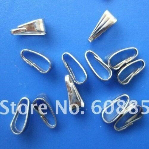 500pcs Nickel plated snap on bail loops Pendant bails findings Jewelry