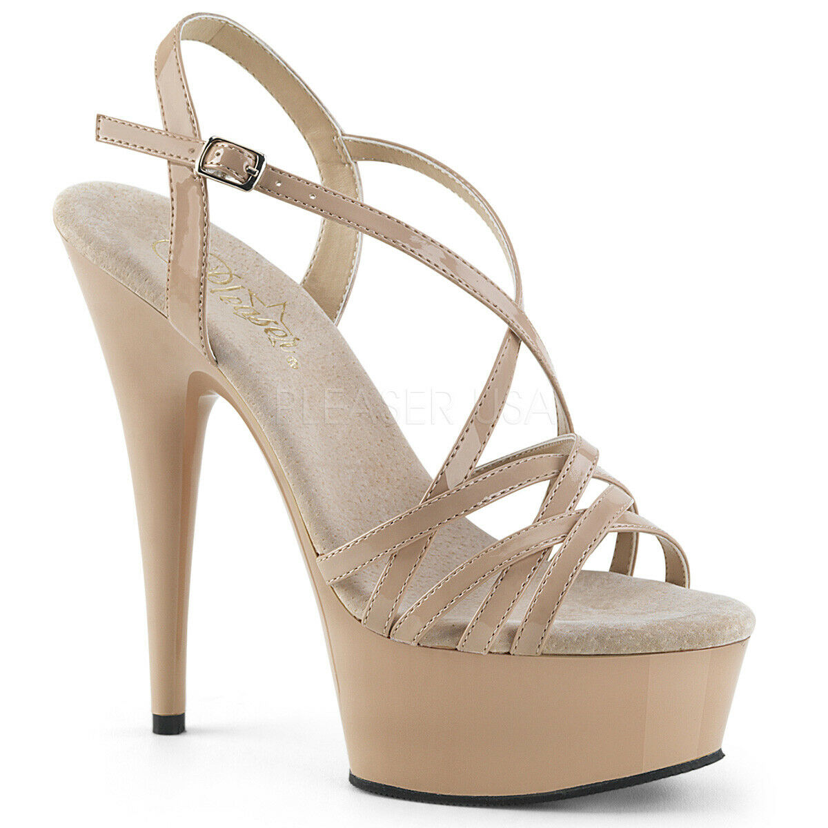 Pleaser Delight-613 Nude Ankle Strap Sandal Overlapping Criss Cross - UK 3 SALE
