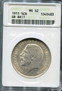 GREAT-BRITAIN-SPECTACULAR-GEORGE-V-SILVER-1-2-CROWN-1911-KM-818-1-ANACS-MS-62