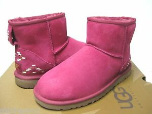 bc31f22fd85 Details about UGG CLASSIC MINI RUSTIC WEAVE WOMEN BOOTS RED VIOLET US 9 /UK  7.5 /EU 40 /JP 26