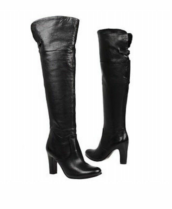 Sam Edelman  Womens Boots Sable 8 Black Fold Knee High Zip Up Leather Over Knee