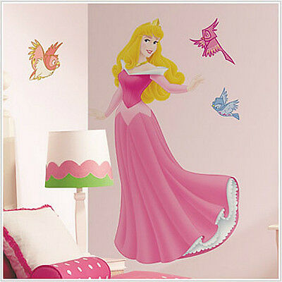"Disney PRINCESS AURORA wall stickers MURAL Sleeping Beauty 40"" tall decal w/gems"
