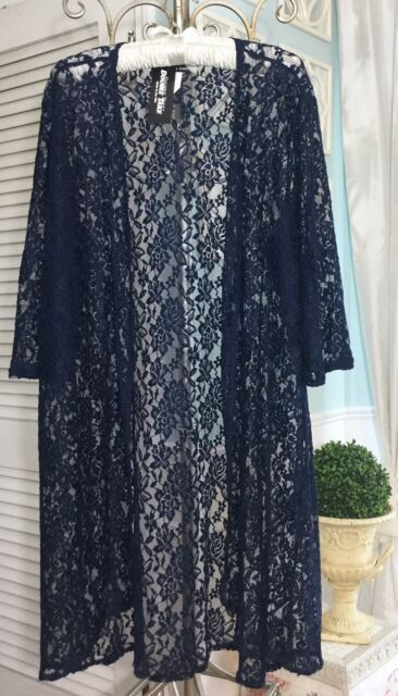 NEW ~ Plus Size 1X Navy Blue Floral Lace Boho Swing Open Duster Kimono Topper