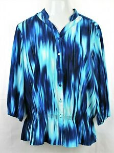 CHICO-039-S-Blue-and-White-Top-Tunic-Button-Blouse-Sz-3-Large-3-4-Sleeve-V-Neck-GUC