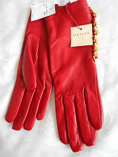 """""""DENTS"""" DESIGNER RED LEATHER GLOVES WITH GOLD CHAINS NEW WITH £68 TAG!!!"""
