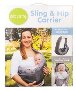 Playette-Baby-Infant-Toddler-Sling-Hip-Carrier-Grey-Pouch-Wrap-Modes-Backpack