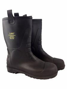 Labo-Men-039-s-Black-Winter-Snow-Rain-Boots-Warm-Lined-Thermolite-Insulated-Fur