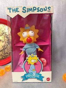 "The Simpsons Sweet Suckin' MAGGIE 10"" Doll Figure Mattel 1990 New In Box Rare"