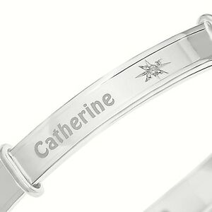 Real-Diamond-PERSONALISED-Baby-Bangle-Christening-Gift-Solid-Silver-925-Sterling