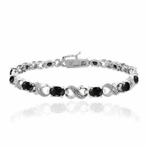 7-8CT-Onyx-Made-with-Swarovski-Elements-Infinity-Bracelet-in-18K-White-Gold