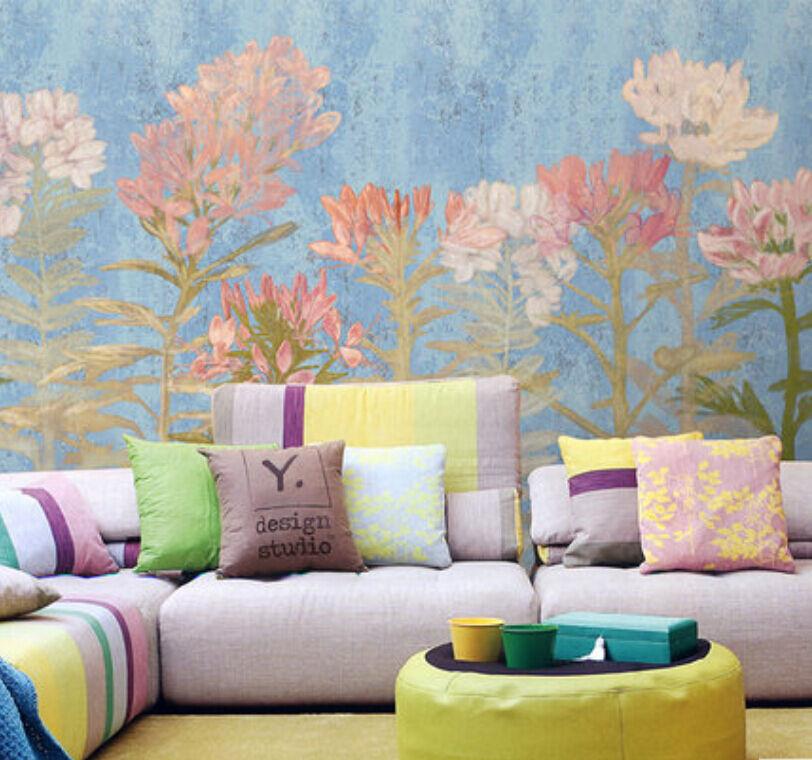3D bluee Flower 1D WallPaper Murals Wall Print Decal Wall Deco AJ WALLPAPER