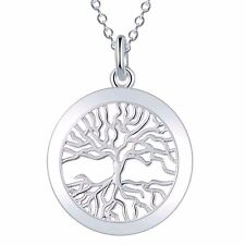 Silver Tree Of Life Necklace 925 Sterling Silver Plated Family Circle Chain New
