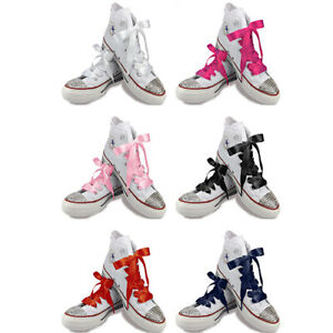 250c617d411b White Pink Red Navy Black Satin Ribbon Shoelaces Laces with Aglets ...