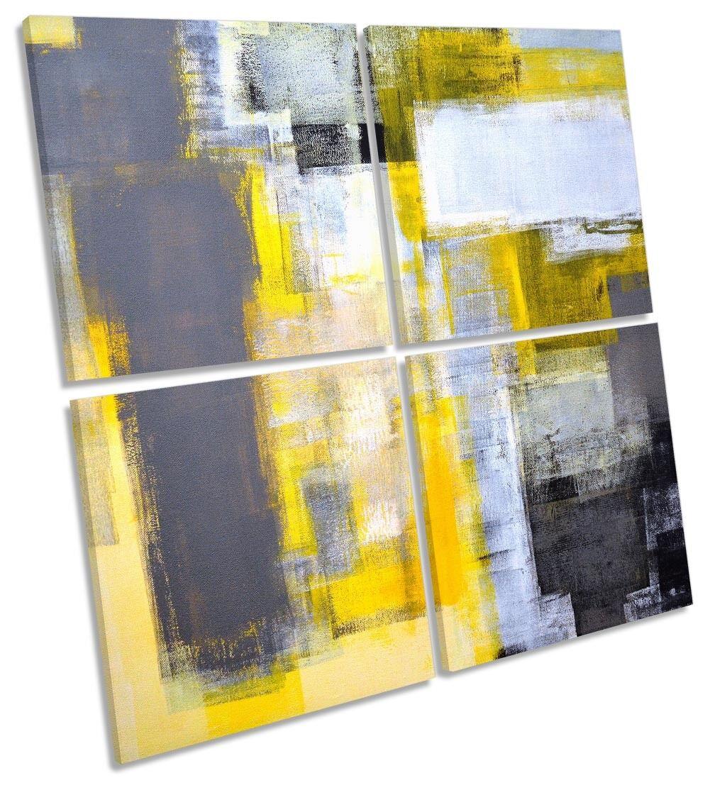 Abstract Gelb grau Grunge Framed MULTI CANVAS PRINT Art Square