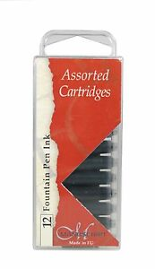12-MANUSCRIPT-INK-CARTRIDGES-ASSORTED-COLOURS-FOUNTAIN-PEN-RED-BLACK-BLUE-461AS