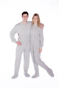 Big Feet Pajama Co. Gray Jersey Knit Adult Footie Footed Pajamas ... fcd8aadf0