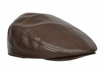 Real Soft Leather Flat Cap Cabbie Gatsby Hunting Peaked Newsboy Hat Red