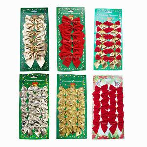 48-Schleifen-S-rot-gold-silber-Weihnachten-Weihnachtsschleifen-Christbaum