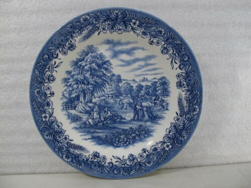 CURRIER IVES HARVEST BLUE DINNER PLATE CHURCHILL HERITAGE MADE IN ENGLAND 13018
