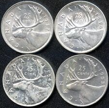 1937 1938 1947MapleLeaf & 1953 NoShldrFold Canada 25 Cent High End Silver Coins